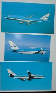 Airline Issued Oversize Postcard - KLM Airlines 747 - lot  of 3 different