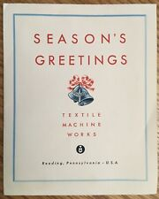 "1950's Season's Greeting Card The ""Reading"" Textile Machine Works, Reading, Pa"