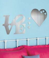 Mirror Decals Wall Decor Love & stars Mirrored Wall Appliqués Shiny Wall Decals