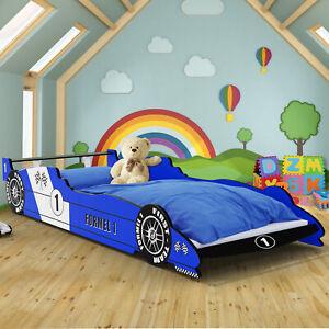 Kinderbett Juniorbett Autobett Renn Spiel Jugend Bett 90x200 mit Lattenrost Blau