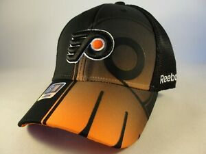 Philadelphia Flyers NHL Reebok Flex Hat Cap Size S/M Mesh Back Black Orange