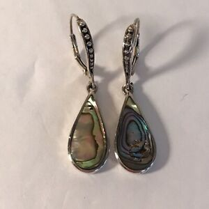 Abalone and Sterling Silver Mother of Pearl Dangle Drop Earrings 925