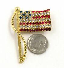 Vintage Flag Pin Red White Blue Rhinestones Goldtone Patriotic