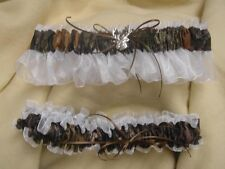 Bridal Garter Set Camouflage Camo WHITE deer MOSSY OAK Country Wedding