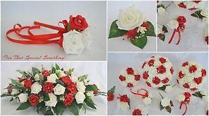 Wedding bouquet flower posy in RED & IVORY. flower girl wand, wrist corsage