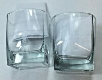Lot of 2 New Amsterdam Square Cocktail  Glasses.  Clear Glass w Frosty Logo