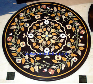 Pietra Dura Black Marble Top Table Rare Inlay Antique Mosaic Collectible AZ5460