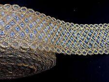 1 meter gold diamante lace trim pearls beads stones ribbon border craft