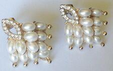 boucles d'oreilles percées clous rétro couleur or perle cristal diamant 5282