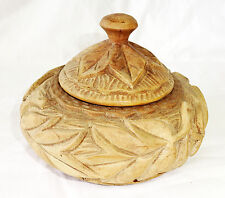 1980s Haitian Wooden Box w Relief Carved Leaf Motif signed Bossant  (Stea)