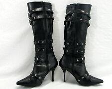 Knee High Boots Size 7 Buckle Zip Up Leather Like - Funtasma 3 1/2 Inch Heels