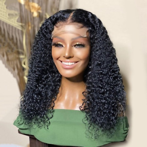 Glueless Jet  Kinky Curly Hair Lace Wig Synthetic Wigs Heat Resistant Fiber Hair
