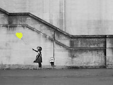 "Banksy Girl Yellow  Balloon Picture 16""X20"" Hope Canvas Graffiti Urban Art Print"