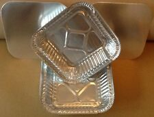 "6"" x 6"" Square Aluminium Foil Dishes and Lids. Trays Containers x 20"