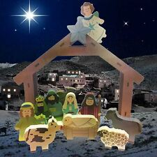 Heaven Sends Madera Grueso 12 Piece Tradicional Belén Juego Establo Navidad