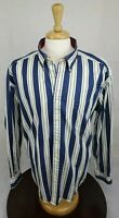 Tommy Hilfiger Vintage Blue White Striped Button Front Casual Shirt Size XL