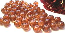 0,05€/Stk 50 Glas-Crash-Perlen Crackle 8mm rotbraun gebrochen Beads Neu