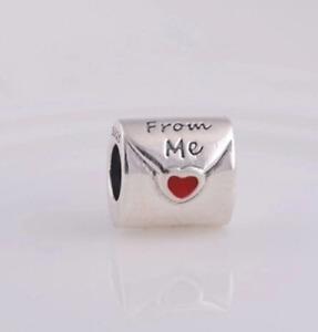 Love Letter Envelope Heart Silver Plated Charm Friendship Fit European Bracelet