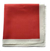 Frederick Thomas 100% silk red pocket square handkerchief FT1659