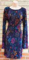 NEXT BLUE MULTI COLOUR FLORAL FRILLY FLARE LACE UP LONG SLEEVE SLIP DRESS 10 S