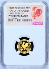 2017 P Australia PROOF GOLD $15 Lunar Year ROOSTER NGC PF70 1/10 oz Coin ER