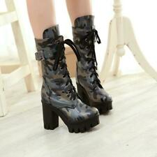 Womens Gothic Camouflage 9.5cm Block High Heel Lace Up Mid Calf Combat Boots New