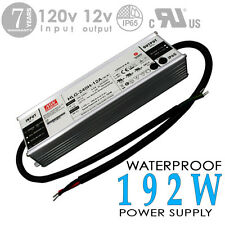 192W 12V 16A DC UL Waterproof-Outdoor Power Supply/Adapter MEAN WELL-HLG (#2926)