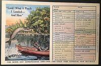 Fishing Fish Boat Man  Correspondence Card Vintage Postcard E160