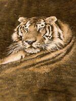 "Biederlack Tiger Head Brown White Blanket Acrylic Throw Reversible 59""x72"" NEW!"