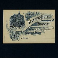Splendid Hotel Frascati BUENOS AIRES Argentina Old Luggage Label Kofferaufkleber