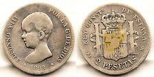Spain-Alfonso XIII. 2 Pesetas 1892**. PGM Madrid. Plata. 10 g. ESCASA