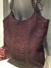 BOUTIQUE Lagenlook Design~Large Brn Italian Nu-Buck Leather Shopper Tote Handbag