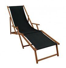 Chaise longue bois de jardin terrasse noir avec pied 10-305 pour