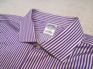 Brooks Brothers Easy Care Cotton Purple White Stripe Dress Shirt NWT 17 x 34 $92
