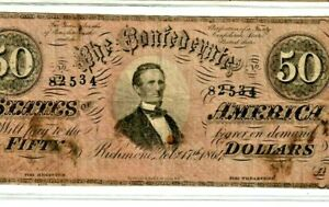 "$50 ""CONFEDERATE"" 1800'S $50 ""CONFEDERATE"" 1800'S $50 CONFEDERATE 1800'S RARE!!"