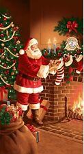 2.6 Yards Cotton Fabric - RJR Good Tidings Christmas Santa Stockings Fireplace