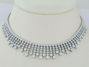 H.Stern 18K White Gold 20 ct Diamond Chandelier Choker Necklace Retail $70k