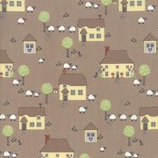 Moda Fabric Cottontail Cottage Novelty Houses Cobblestone - Per 1/4 Metre