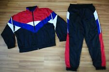 ADIDAS RETRO NYLON FULL TRACK SUIT JACKET TOP and PANTS SIZE LARGE D7 F186 RARE