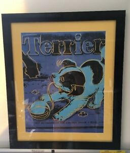 ANDY WARHOL TERRIER - Custom Framed In Black Lacquer And Yellow Matting
