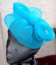turquoise blue fascinator millinery burlesque wedding hat ascot race bridal