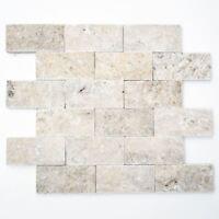 Mosaik Fliese Travertin Naturstein weißgrau Brick  |29-42781_f | 10 Matten