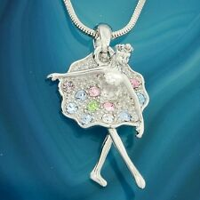 "Multi Color Pendant 18"" Chain Gift Ballerina W Swarovski Crystal Ballet Necklace"