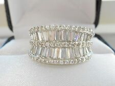QVC-Diamonique Baguette Sterling Silver Band Ring Size 7