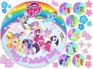 """EDIBLE MY LITTLE PONY RAINBOW 8"""" PERSONALIZED BIRTHDAY ICING CAKE CUPCAKE TOPPER"""