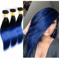 1/3 bundles  #1B/Blue Ombre Straight 100% Remy Hair Human Hair Extensions Weft