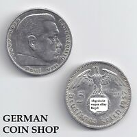5 Reichsmark Silver 1936 1937 1938 1939 a D E F G J - Please Select