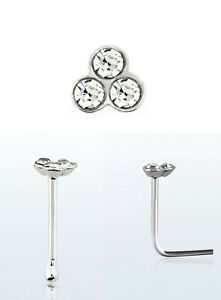 Real 925 Sterling Silver Piercing Small Nose Stud with 3 small clear crystals