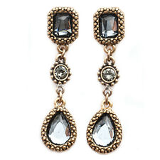 One Button Vintage Style Antique Gold & Crystal Drop Earrings