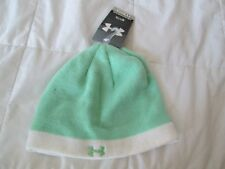 BRAND NEW Girls UNDER ARMOUR Youth one size winter knit beanie Mint Green/White
